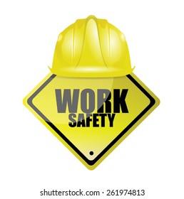 work safety helmet and sign concept illustration design over white