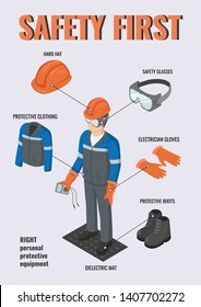 Work safety. Isometric electrical engineer wearing helmet, gloves, protective glasses, clothing and boots near breaker box. Vector infographic about safety equipment. PPE.