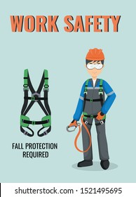 Work safety poster. Fall protection required. Construction worker in uniform. Vector infographic about safety equipment. PPE.