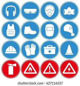 Work safety, protection equipment icons set. Blue and red icons
