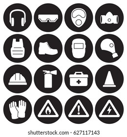 Work safety, protection equipment icons set. White on a black background