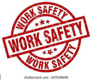 work safety round red grunge stamp
