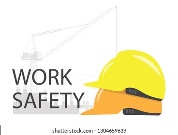 Work Safety symbol with yellow helmet on construction site.