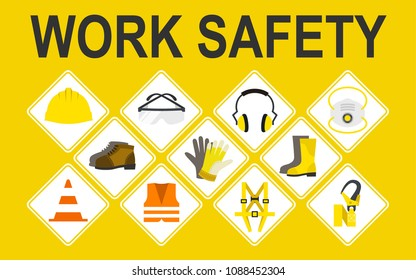 Work safety vector icons set, Vector illustration, Safety and accident, Industrial safety cartoon