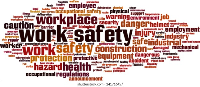 Work safety word cloud concept. Vector illustration
