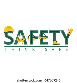 Work safety word concept.Safety equipment.Vector illustration