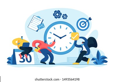 Work schedule, timetable managing. Workflow organization. Effective work scheduling. Time management, effective time spending, time planning concept. Vector isolated concept creative illustration