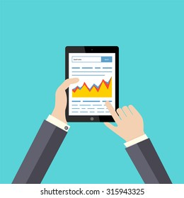 Work with the search engines. Growth in the Internet. The tablet in style to the flat. Schedule. SEO. Raising site to the top. Vector illustration.