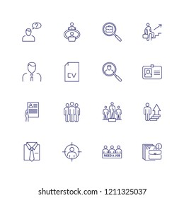 Work search line icon set. Candidate, CV, badge. Job finding concept. Can be used for topics like human resource, head hunting, unemployment