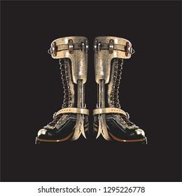work shoe lineman boots hooker illustration