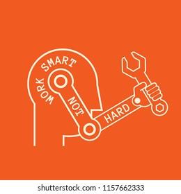 work smart not hard- automation symbol