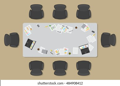 Work space for business meetings and brainstorming. (Top view) Vector office table. (View from above)