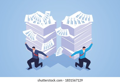 Work stress, businessman holding a pile of documents, overloaded with work
