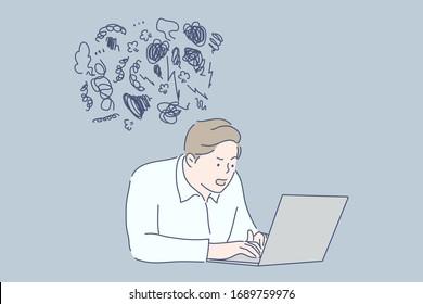 Work, stress, frustration, depression business concept. Young frustrated upset businessman clerk or manager, depressed boy freelancer works on laptop and having mental stress. Work pressure, overload.