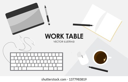 Work Table Ilustration Vector