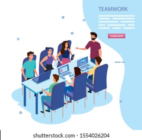 work team group in meeting avatar characters vector illustration design