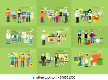 Work team people job concept flat design. Team work concept, team building, working together, team spirit, business job, people worker investor friend musician chefs doctor programmer illustration