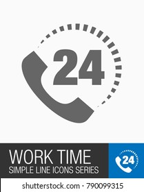 Work time 24 hours on day icon, all day working service