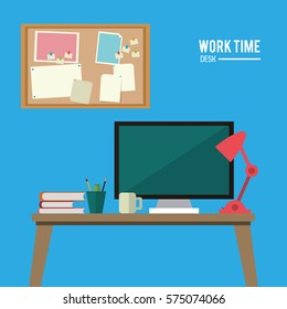 work time desk space laptop lamp notice board