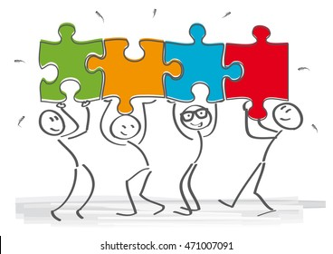 work together â?? stick figures with puzzle pieces