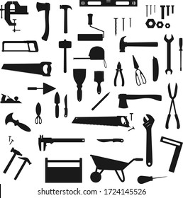 Work tool, construction, home repair and carpentry vector silhouettes icons. Woodwork and DIY building tools, handyman equipment grinder and hammer, drill, ruler and screwdriver