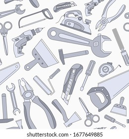 Work tool - Vector color background (seamless pattern) of hammer, wrench, screwdriver, pliers, spanner, drill, axe and knife for graphic design