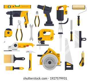 Work tools flat icons set, construction, carpentry woodwork and masonry vector instruments. Building and repair power tools electric drill, rotary hammer and painting brush roll, saw and grinder plane