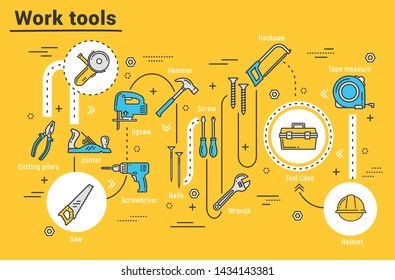 Work tools of house repair, building, construction. Hammer, screwdriver and cutting pliers, toolbox, drill and saw, wrench, helmet and tape measure, hacksaw, jigsaw and jack plane, nails and screws