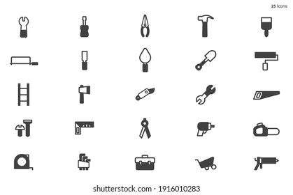 Work Tools Icons. Editable Stroke. Pixel Perfect. For Mobile and Web.