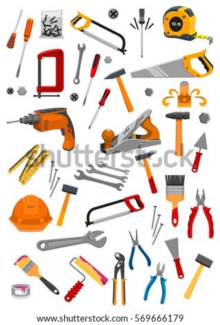 Work Tools Icons Vector Repair Carpentry Stock Vektorgrafik
