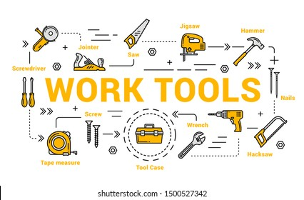 Work tools isolated icons. Vector jointer and saw, jigsaw and hammer, nails, hacksaw, wrench and tool case, tape measure and screwdriver. Carpentry and woodwork instruments, DIY toolkit