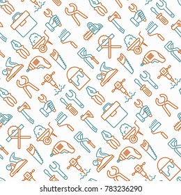 Work tools seamless pattern with thin line icons: puncher, drill, wrench, plane, toolbox, wheelbarrow, saw, pliers, sawing machine. Modern vector illustration of building equipment for background.
