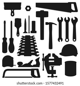Work tools silhouette icons, home repair, renovation and remodeling handy instruments. Vector woodwork carpentry and construction tools, hammer, saw and screwdriver, wrench and drill with ruler