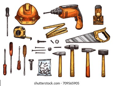 Work tools sketch icons. Vector isolated set of safety helmet, screwdriver or spanner and screws bolts, hammer mallet or saw and ruler measure-tape, carpentry electric drill and woodwork grinder