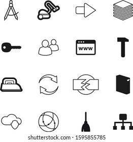 work vector icon set such as: broom, spin, direction, disconnect, package, server, safety, media, carpentry, clean, broken, platform, construction, unlock, draw, community, clothing, steam, idea