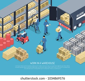 Work in ware house scene with staff, shelves with packages, shipment goods from truck isometric vector illustration