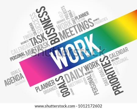 work word cloud collage business concept stock vector royalty free