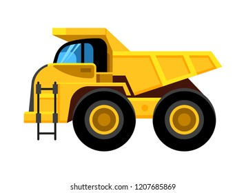 Work yellow truck. Big wheels construction vehicle dumper vector cartoon car isolated on white