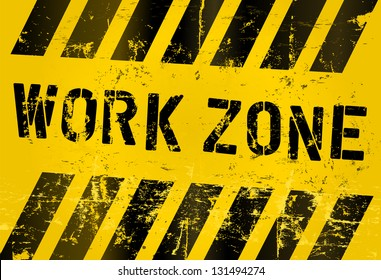 work zone sign, worn and grungy, vector scalable eps 10