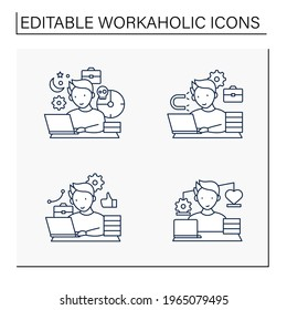 Workaholic line icons set. Workaholism prevention, consequences. Conduct rules. Overworking concept.Isolated vector illustrations.Editable stroke