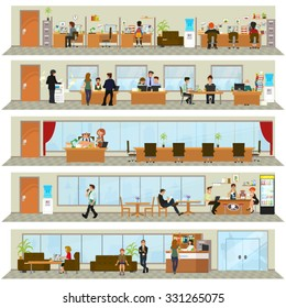 workday in an office building. People in the interior of the building in different poses and situations. Vector illustration.