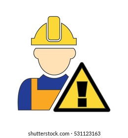 Worker and Attention Sign Icon Vector Illustration