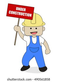 A Worker Bring Under Construction Sign Cartoon Illustration