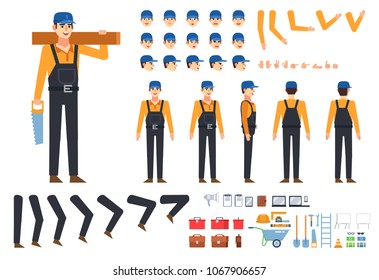 Worker, builder in black overalls creation kit. Create your own pose, action, animation. Various emotions, gestures, design elements. Flat design vector illustration