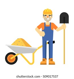 Worker builder in uniform and helmet with shovel and full wheelbarrow isolated on white background vector illustration. Smiling construction worker character in flat design.