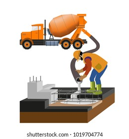 Worker at building site are pouring concrete in mold from mixer truck. Vector illustration isolated on white background