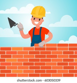 Worker builds a wall, brickwork. Work of the builder. Vector illustration in a flat style