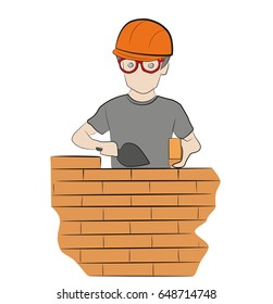 A worker builds a wall, a brickwork. Work of the builder. Hand drawn cartoon vector illustration for design and infographics.