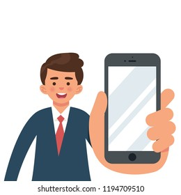 worker or business man showing smartphone, man holding smartphone close up, flat vector design