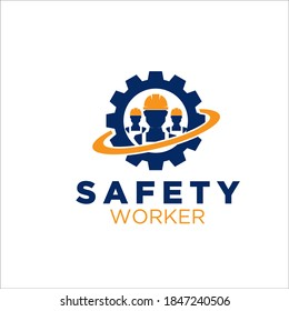 worker care logo designs simple for construction service